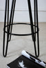 Brooir Round - Brother Handmade Reclaimed Dark oak Wooden Stool with powdercoated Hairpin circled steel legs Made to Order