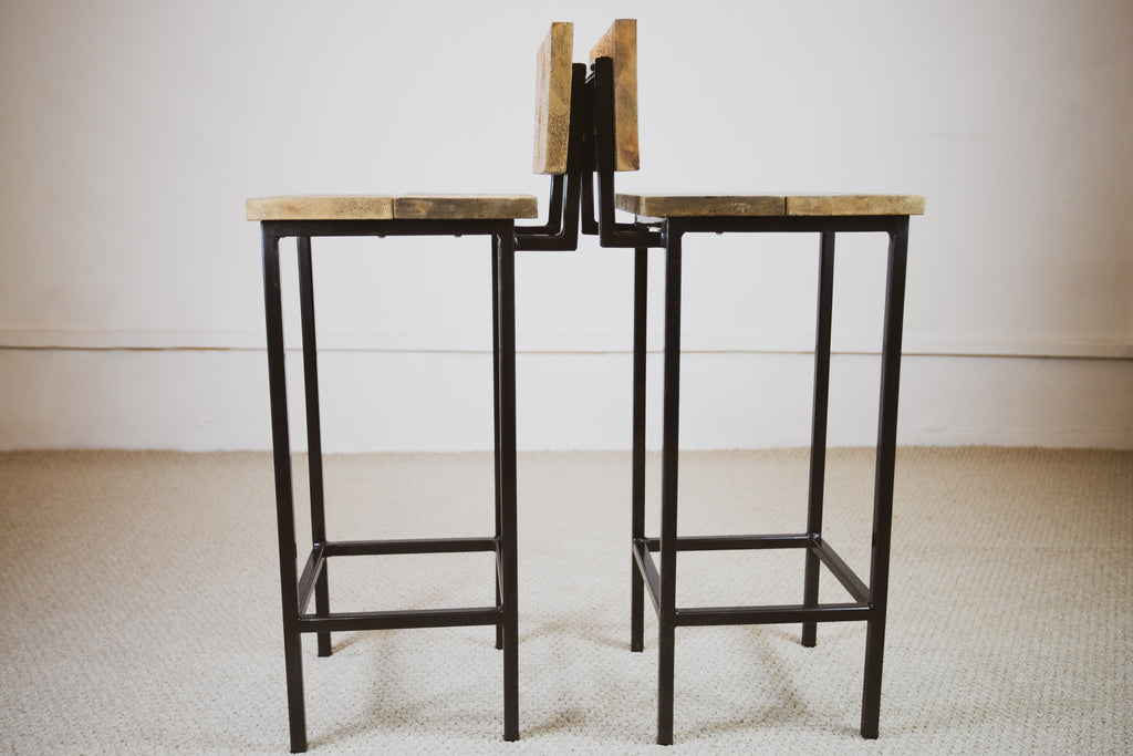 Brooir - Brother Handmade Industrial Chic Reclaimed Rich Oak Wooden stool with Box section legs