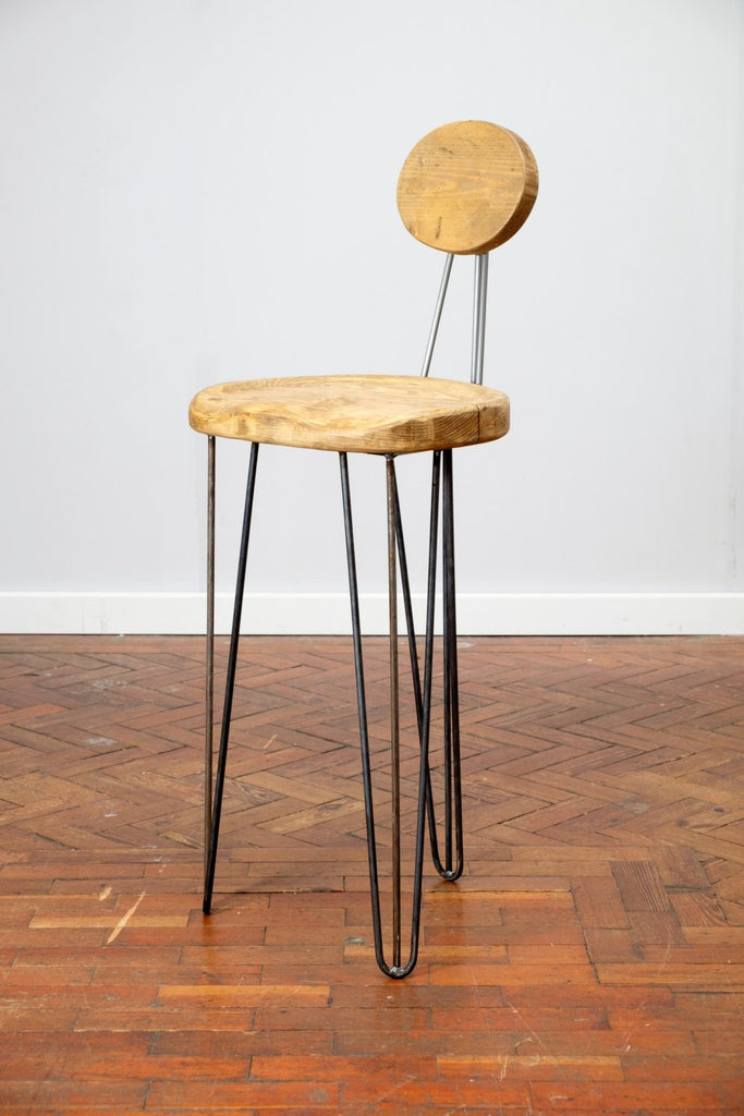 FAOIR - Handmade Reclaimed Wooden Hair Pin leg stool with carved seat and back rest