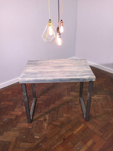 LYSA (Small) - Handmade Industrial Chic Reclaimed Grey Wash Wood & Steel Middy Table with Steel box section legs | Hand & Craft Furniture