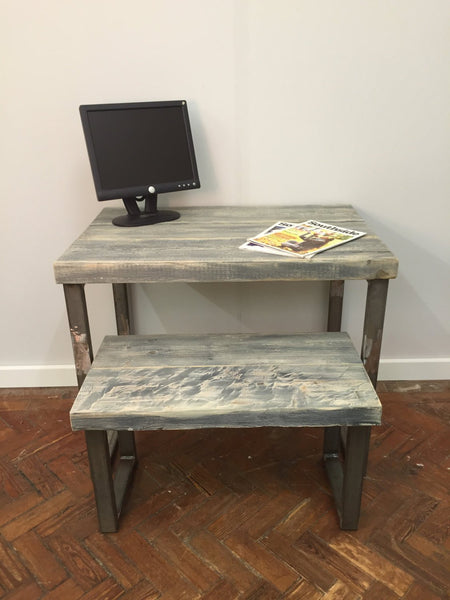 DAGA - Handmade Industrial Chic Reclaimed Grey Wash Wood & Steel Stool/low table with Steel box legs