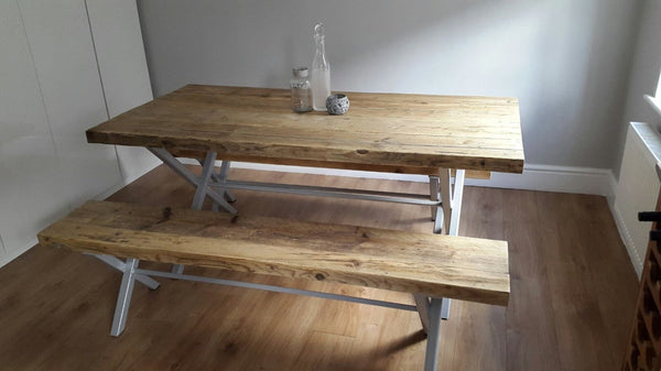 VOXTR (Medium Set) - Handmade Industrial Chic Reclaimed Wood & Steel X Leg Garden Table w/ 2 box legged benches | Hand & Craft Furniture