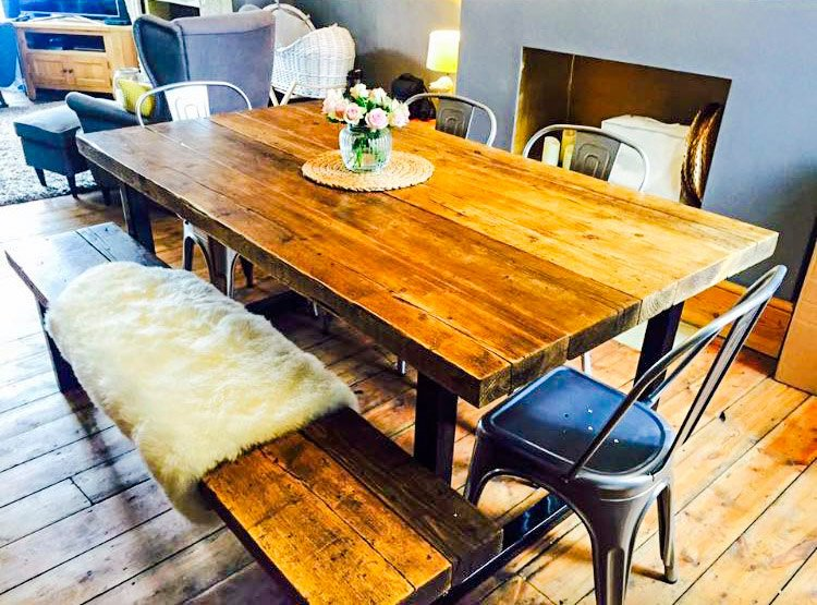 TIMBRA - Timber Reclaimed Cherry finished Wooden Table with 1 Bench Set