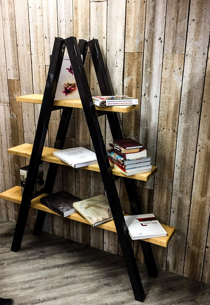 KRAKI - Steel Handmade Reclaimed Box Leg Steel and Wood Ladder Shelving in Light Wax Finish | Hand & Craft Furniture