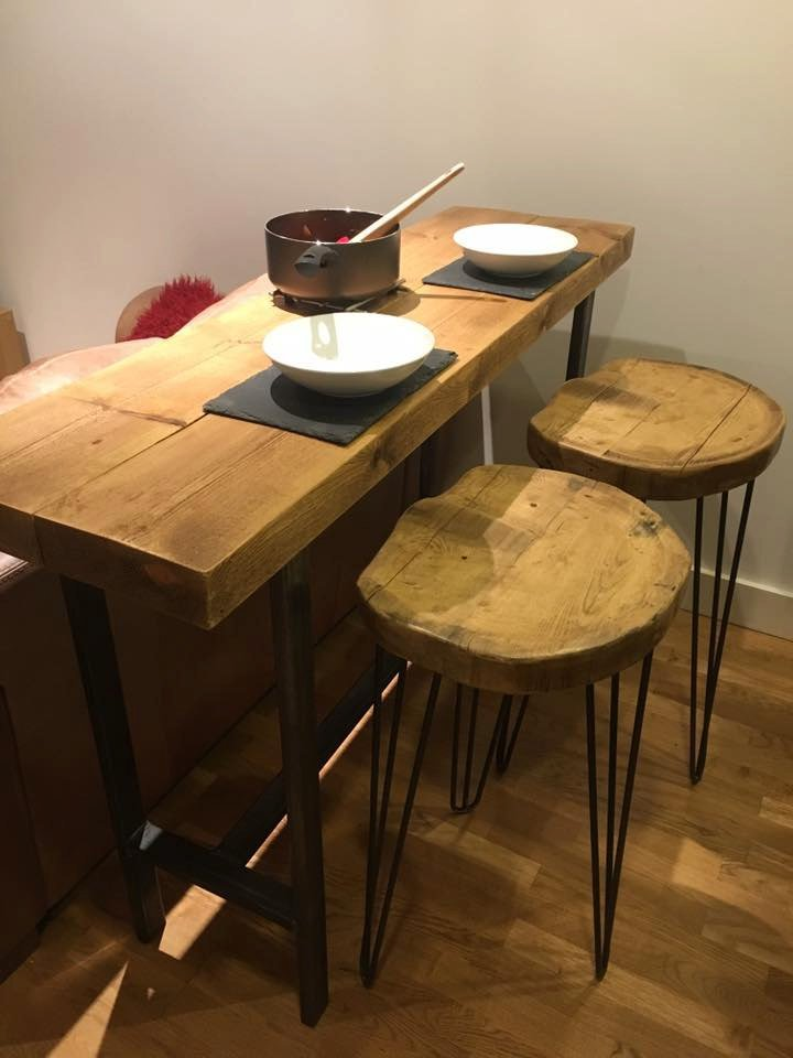 OFSI - Handmade Industrial Chic Reclaimed Wood & Steel Box Leg Brekkie Bar, Poser Table w/ 2 Handcarved Hairpin Stools Custom Made To Order.