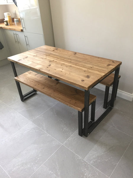 ELDING (Dining) - Handmade Industrial Chic Reclaimed Wood & Steel Box Leg Table w/ 2 matching benches