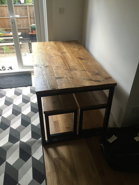 ELDING (Dining) Large- Handmade Industrial Chic Reclaimed Wood & Steel Box Leg Table w/ 1 matching bench. Custom Made To Order.