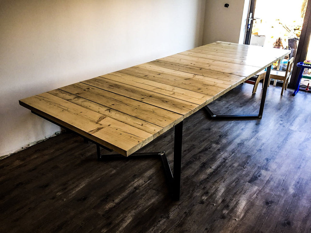 GROA (Set) - Handmade Reclaimed Industrial Chic Steel Wood Extendable Dining Table & Bench .Bar Cafe Restaurant Furniture Steel Wood