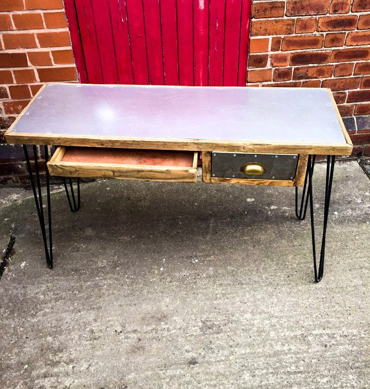 GORSIMI (2 Drawer) - Handmade Industrial Chic Desk with Reclaimed Wood and Polished Steel Top and Hairpin Legs Desk | Hand & Craft Furniture