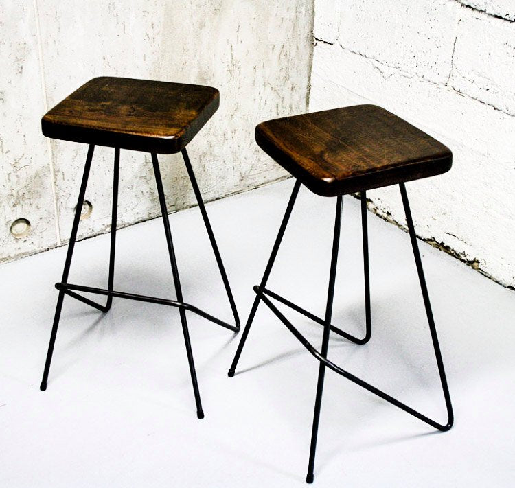 VASKR - Handmade Reclaimed Wooden Stool with powder coated Round bar angled out steel legs Made to Order