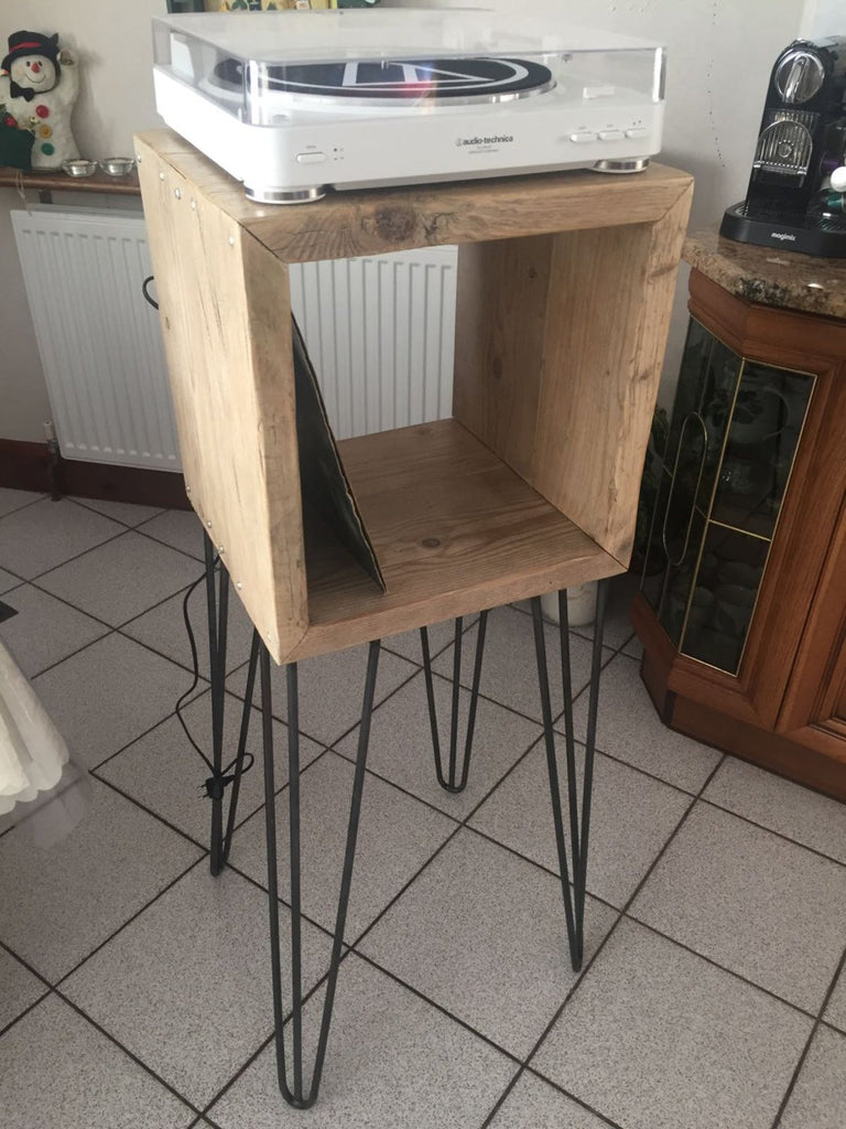HEPPINN (Standard) - Handmade Reclaimed Wood Side Table/Record Stand with Steel Hairpin Legs. Custom Made To Order.