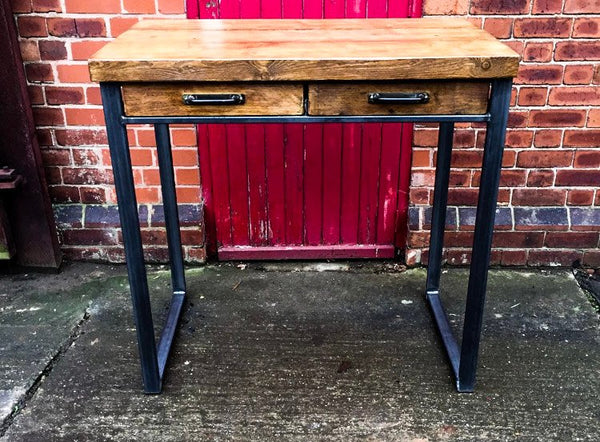 SVEINN (Tall) - Handmade Industrial Chic Reclaimed Wood Office, Kitchen Table w/ 4 Drawer and Steel Boxed legs | Hand & Craft Furniture