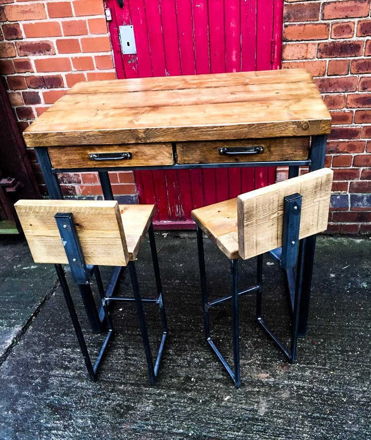 SVEINN (Set) - Handmade Industrial Chic Reclaimed Wood Office, Kitchen Table w/ 4 Drawer and Steel Boxed legs Custom Made To Order.