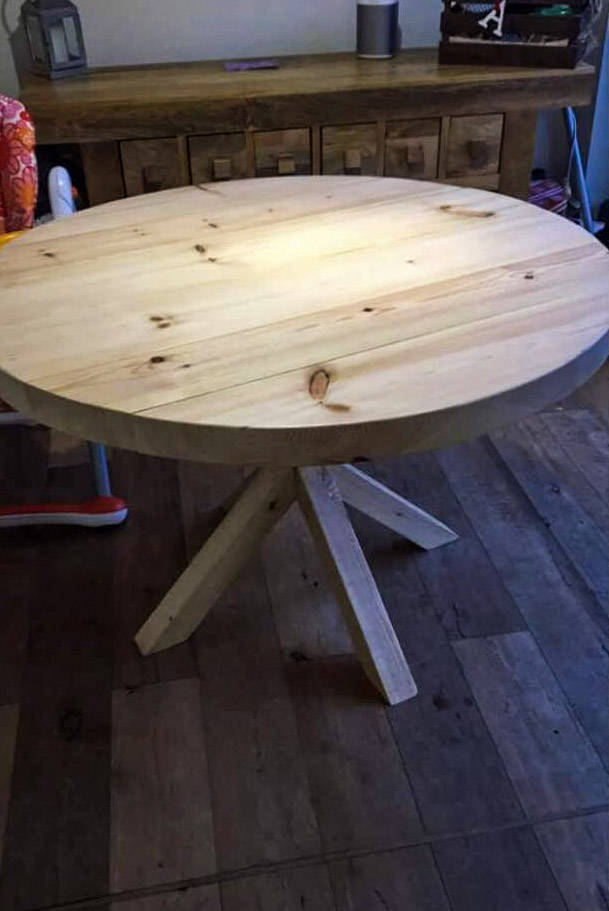 BAUGR (Star leg) - Round Handmade Reclaimed With Wooden Star frame Leg Table in Light Stripped Pine finish - Made To Order