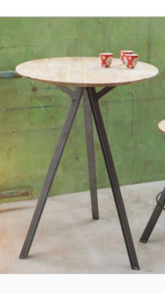 PUULIP - Round and Stool Set Handmade Industrial Chic Reclaimed Wood 3 legged Table Custom Made to Order.