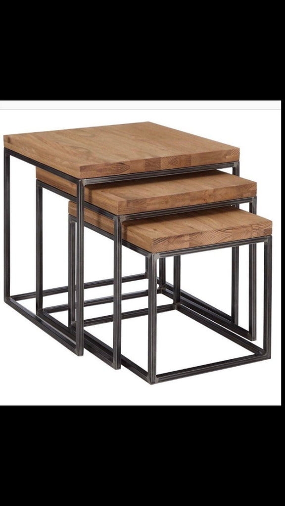 Trio set Handmade Industrial Chic Reclaimed Wood with Steel Legs Table. Cafe Bar Restaurant. Custom Made to Order.