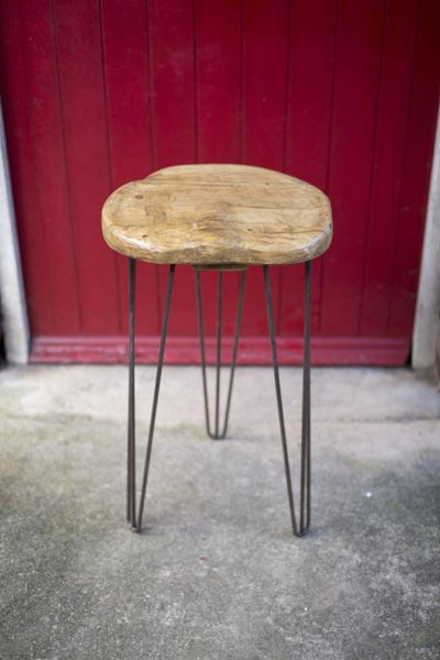 SAETI - Industrial Chic Reclaimed Wood Hairpin Leg Handmade Stool. Cafe, Bar, Restaurant. Custom Made To Order.