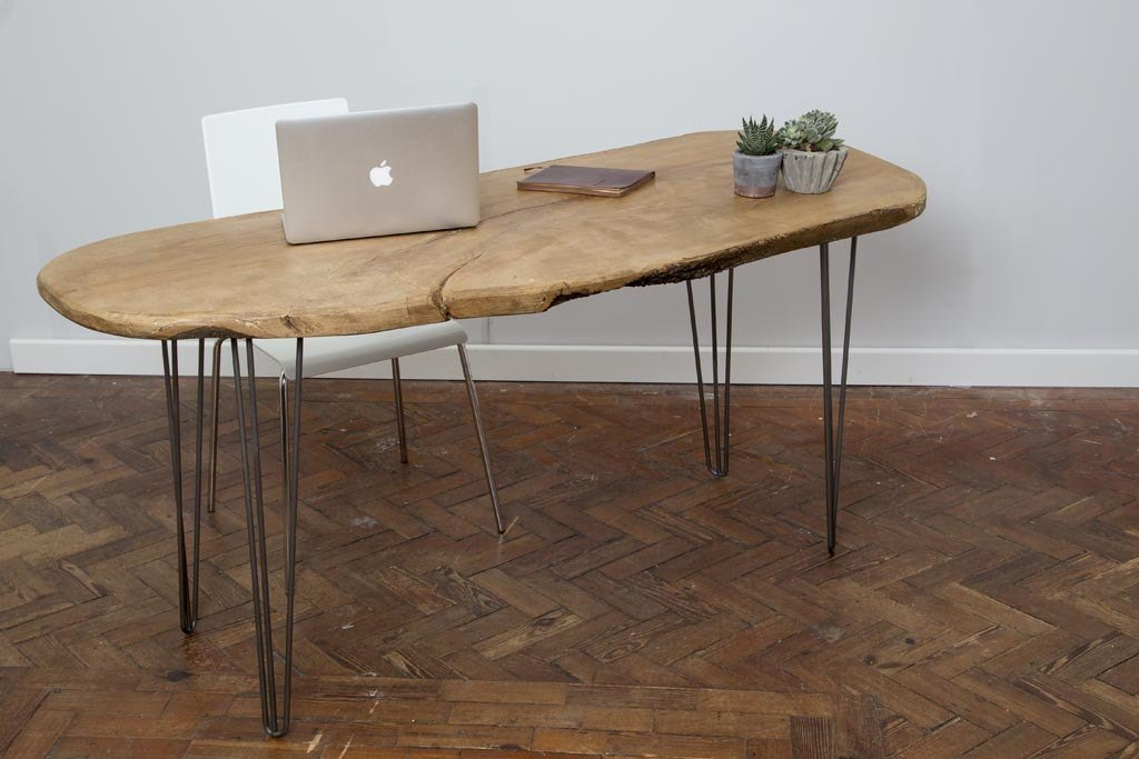 EOLI - Handmade Industrial Chic Live Edge Hairpin Leg Desk | Hand & Craft Furniture