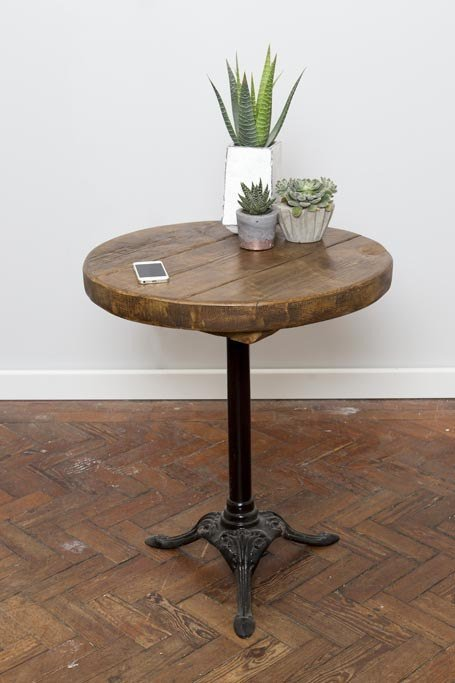 KNOTTR - Hand Made Industrial Chic Reclaimed Wood Wrought Iron Leg Round Table. Custom Made to Order.