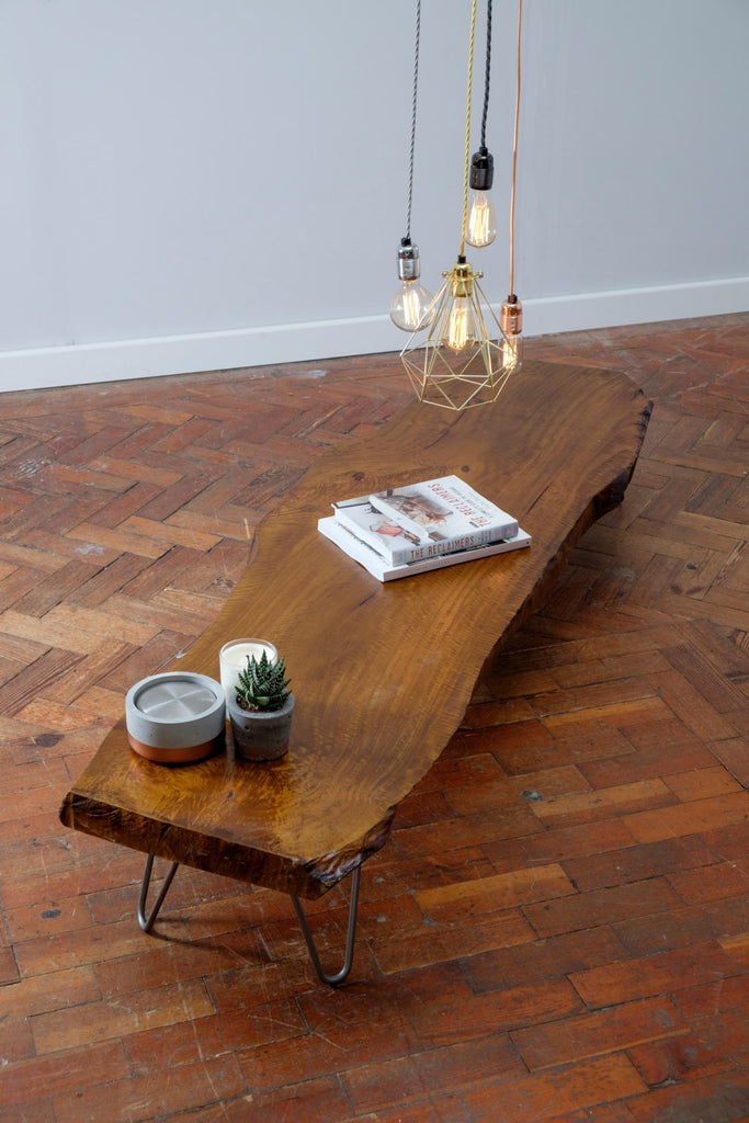 KYKR (Straight) - Handmade Reclaimed Live Edge Hairpin legged coffee table - Cafe Bar Restaurant | Hand & Craft Furniture