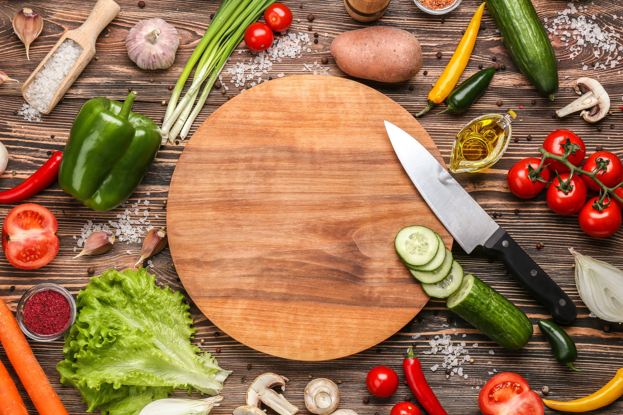 cutting board with food. Round Cutting Board (Optional Laser Engraving) With Food E