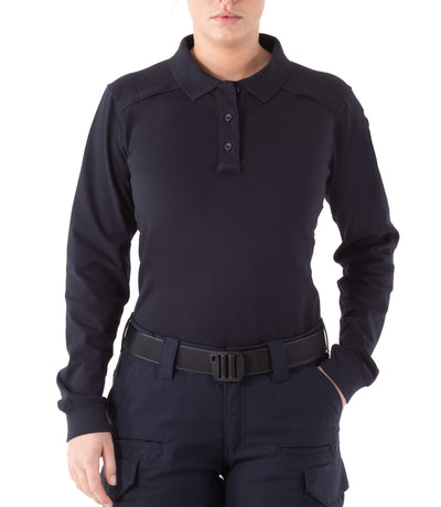 Women's Cotton Long Sleeve Polo with Pen Pocket