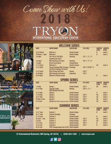 2018 Schedule for Tryon International Equestrian Center