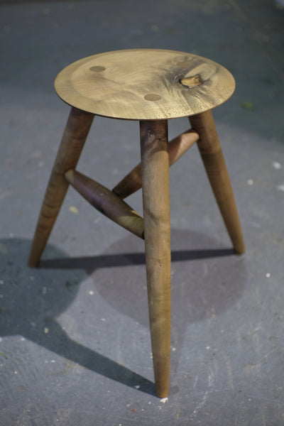 Oxidized English Sycamore stool / side table
