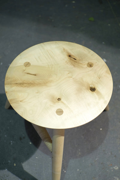Figured English Sycamore stool / side table