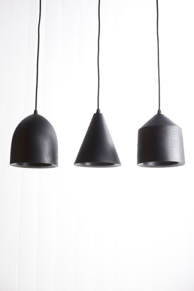 """Tir"" black wooden pendant light"