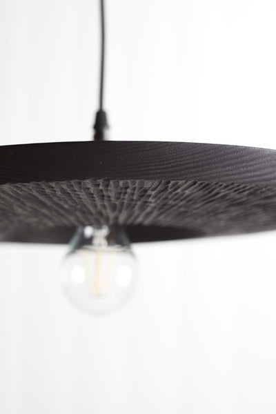 "Black ""Quake"" wooden pendant light"
