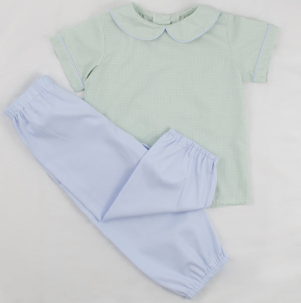 Boys Bloomer Pants, Sky Blue Pique (Ready to Ship)