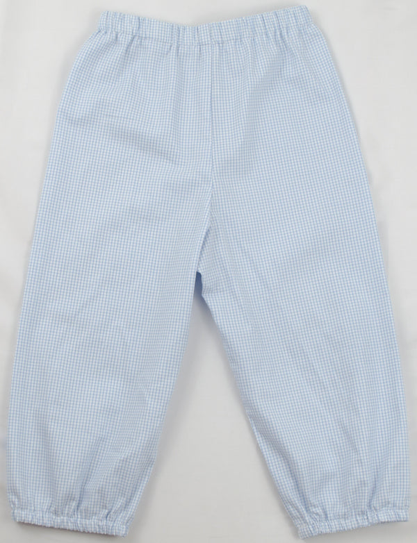 Boys Bloomer Pants, Blue Windowpane (Ready to Ship)