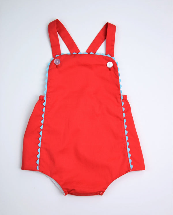 Beau Sunsuit, Tomato Pique with blue ric rac