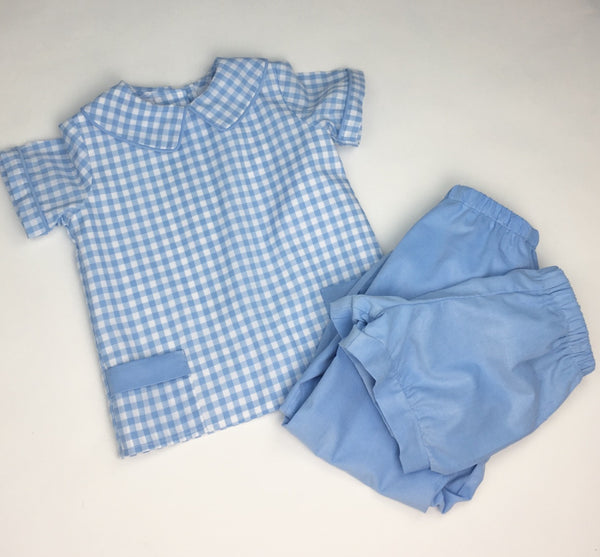 Boys Bloomer Pants, French Blue Cord (Ready to Ship)