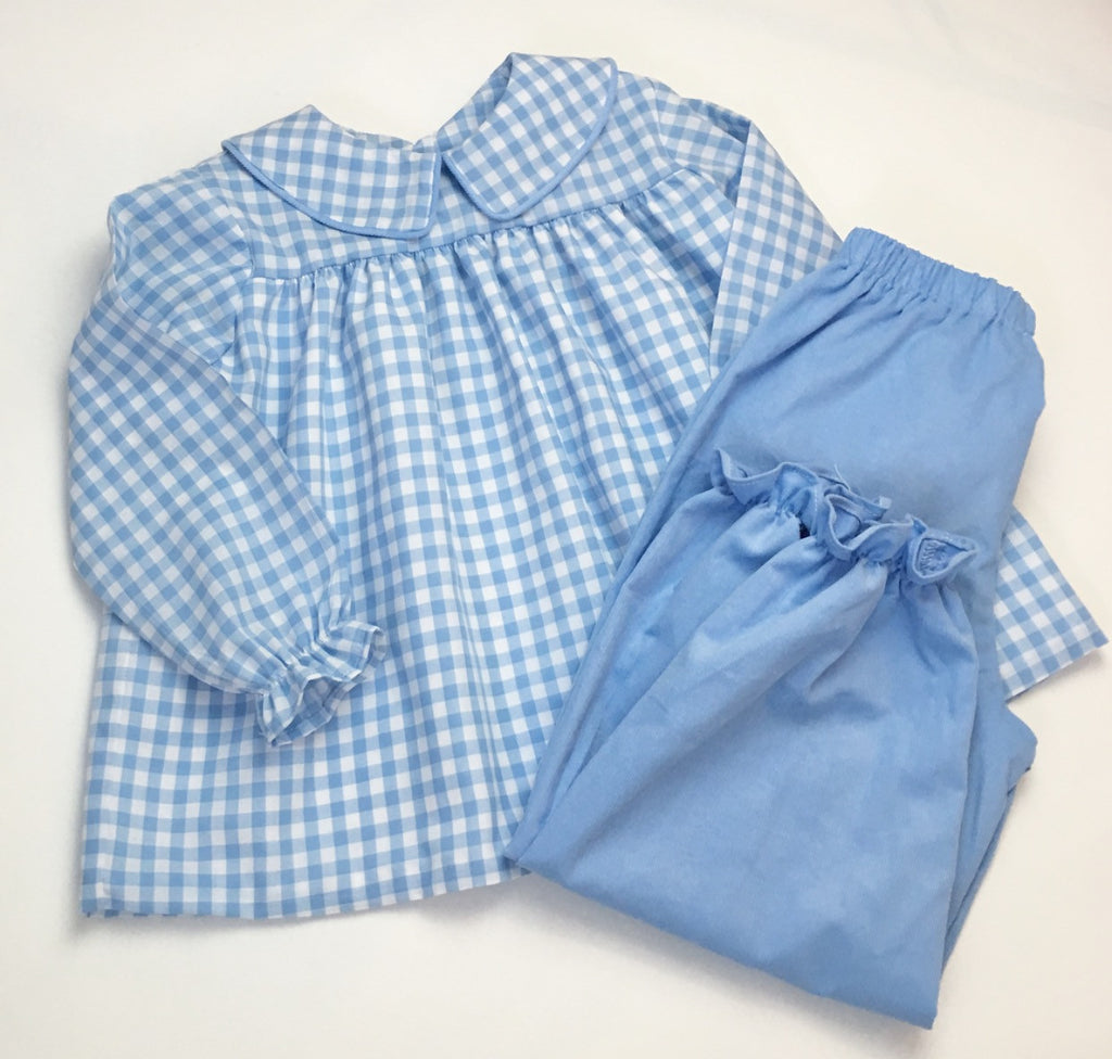 Girls pantaloons, French blue corduroy