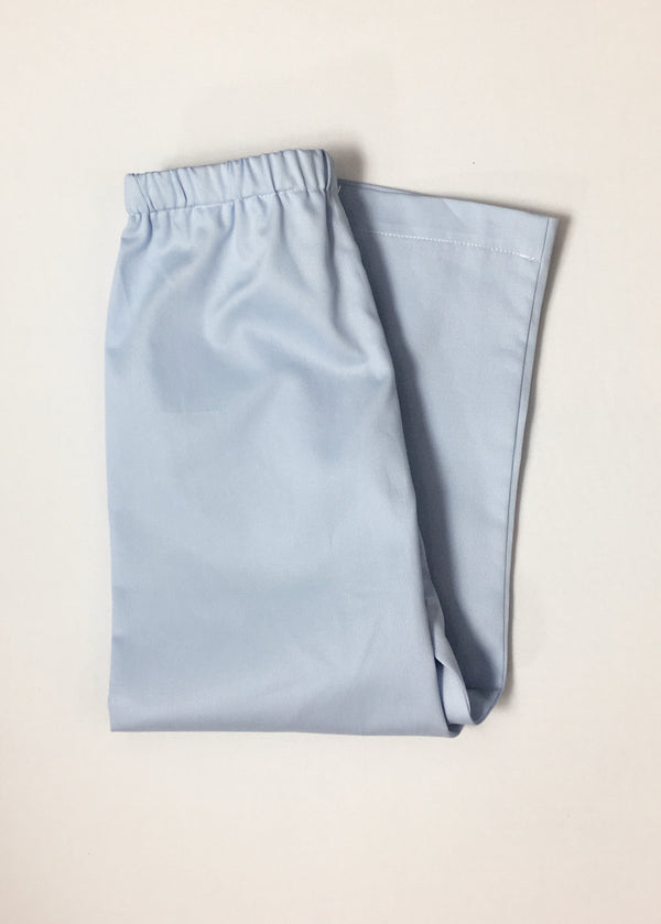 Boys Straight Leg Pants, Sky Blue Pique (Ready to Ship)