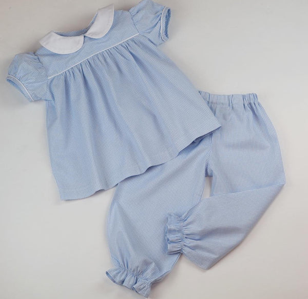 Girls Pantaloons, Blue Windowpane (Preorder Only)