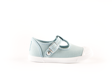 Cap Toe T-strap, Light Blue