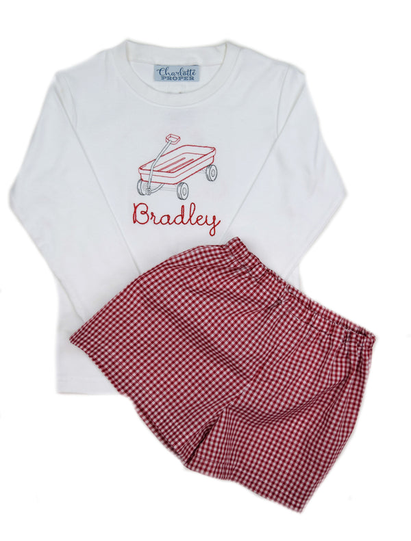 Boys Short Sleeve Tee, Red Wagon