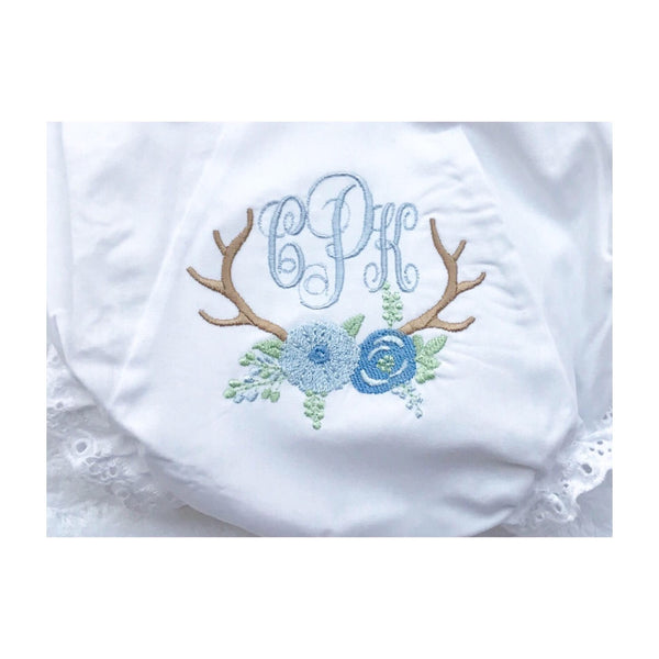 Madison Monogrammed Diaper Cover, Blue