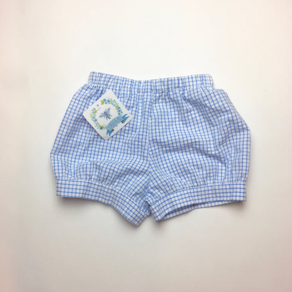 Boys Banded Shorts, Blue Windowpane Seersucker
