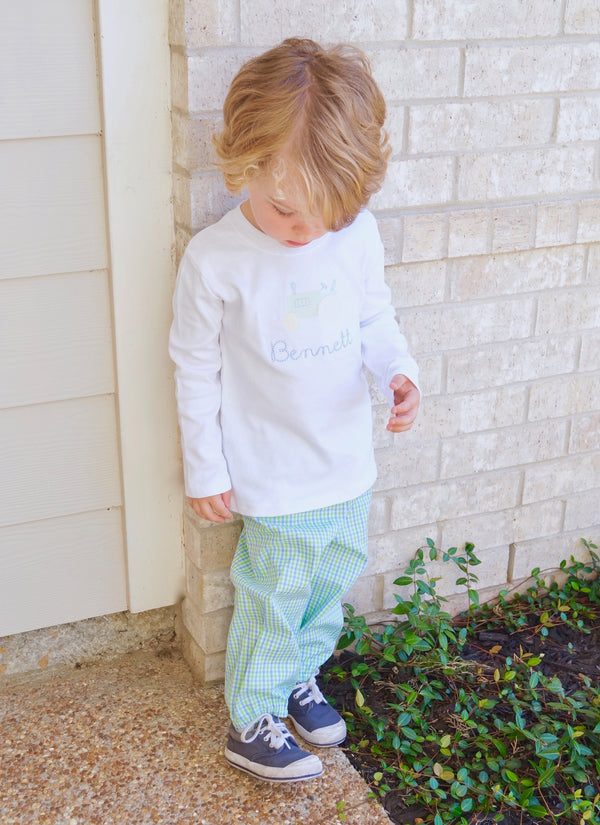 Boys Bloomer Pants, Blue/Green Check (Ready to Ship)