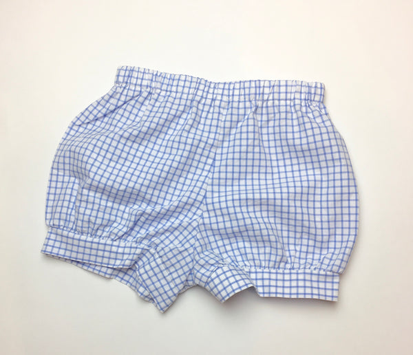 Boys Banded Shorts, Blue Wide Windowpane