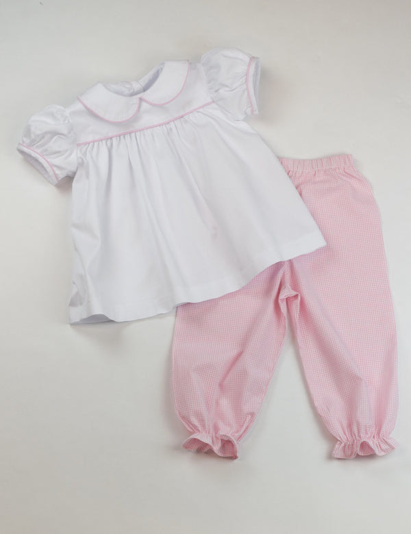 Girls Pantaloons, Light Pink Windowpane (Preorder Only)