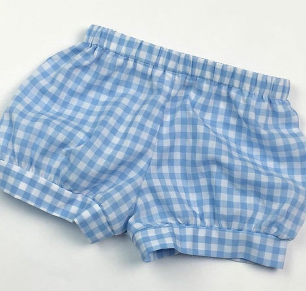 Boys Banded Shorts, Blue Buffalo Check