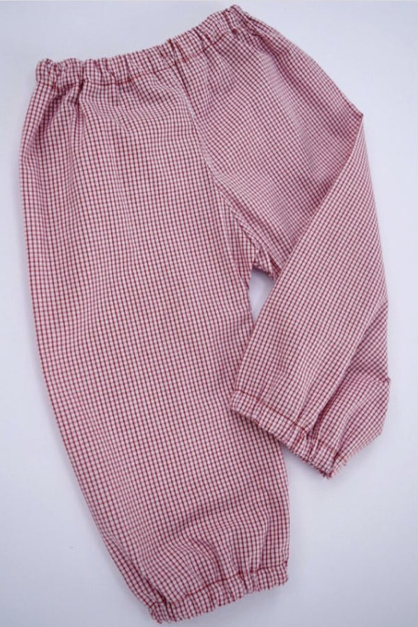 Boys Bloomer Pants, Berry Windowpane