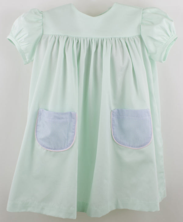 Anna Dress, Mint Pique/Blue Windowpane