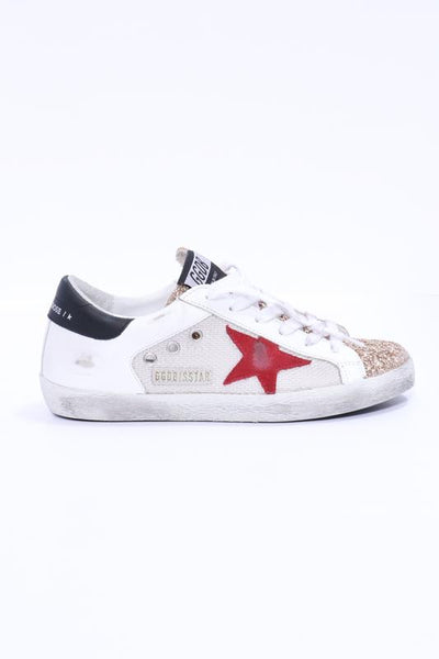 Golden Goose Superstar Net and Leather Upper Suede Star Glitter Toe