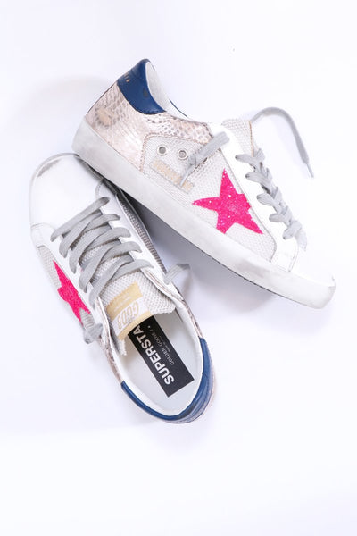 Golden Goose Superstar in Mesh Silver-Gold Cocco-Glitter Pink Star
